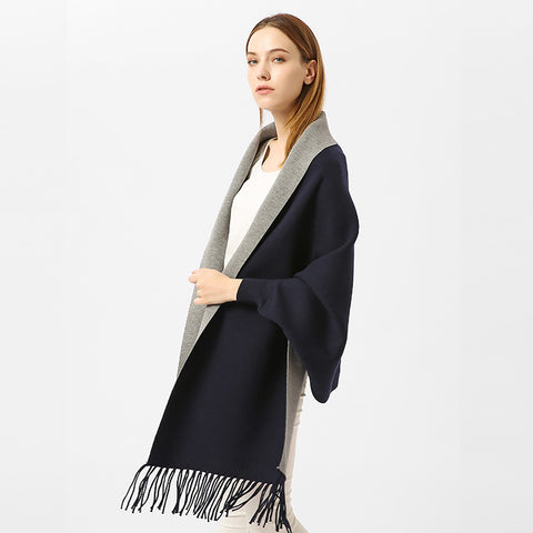Imitation Cashmere Solid Color With Sleeves Shawl