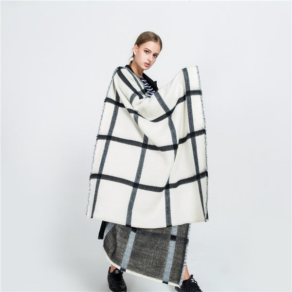 Black and White Double-sided Imitation Cashmere Scarf