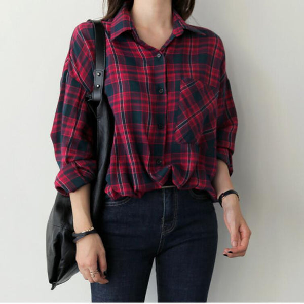 Casual Checkered Button Down Loose Blouse