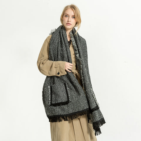 Autumn & Winter Imitation Cashmere Pocket Scarf