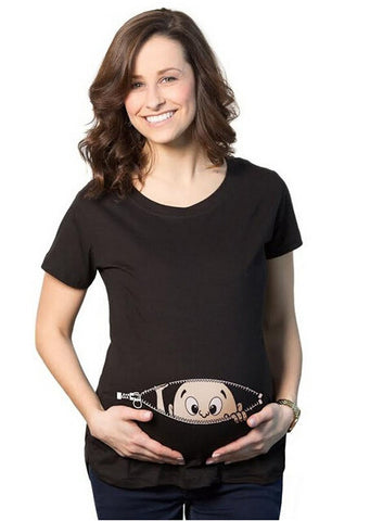 Baby Peeking Out printed Short Sleeve Pregnancy Womens T-Shirt