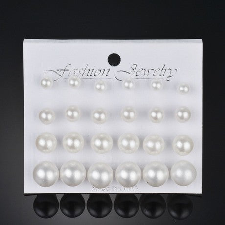 12 Pair/set Women White Simulated Pearl Earrings-1