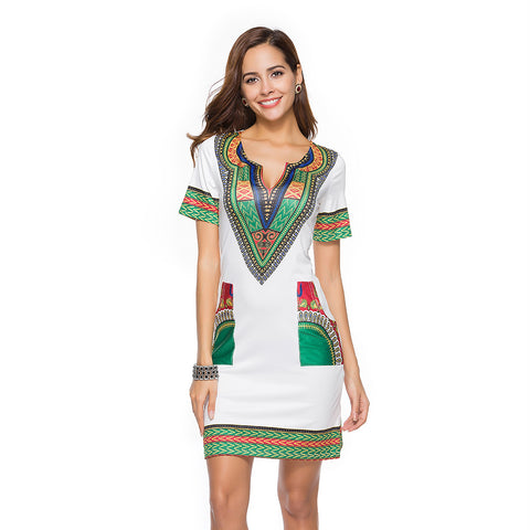 Women's Tight-fitting Ethnic Print Dress