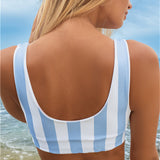 Swimwear Striped Double-sided Printing Triangle Strap Bikini