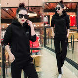 Female Slim Hooded Velvet Two-piece Tide Sweater
