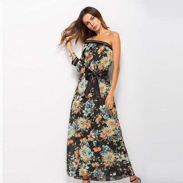 Hunting style off-shoulder single-sleeve print dress