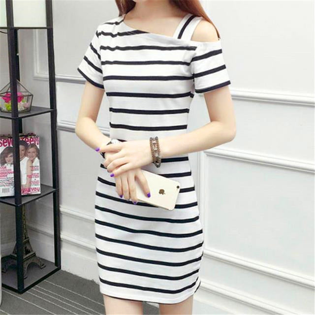 Stripe Collar Off-shoulder Slim Fit Long Short-sleeved Dress for Women