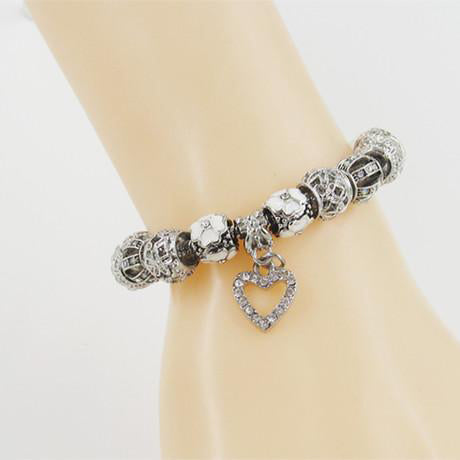 Unique Heart Shape Silver Crystal Charm Bracelet & Bangles for Women
