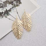 Metal Leaf Shape Ear Drop Earrings in Silver Gold