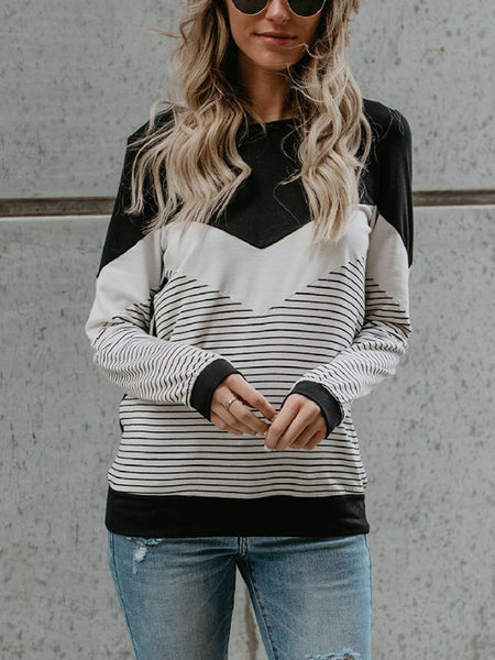 Women's Striped Stitching V-neck Knits
