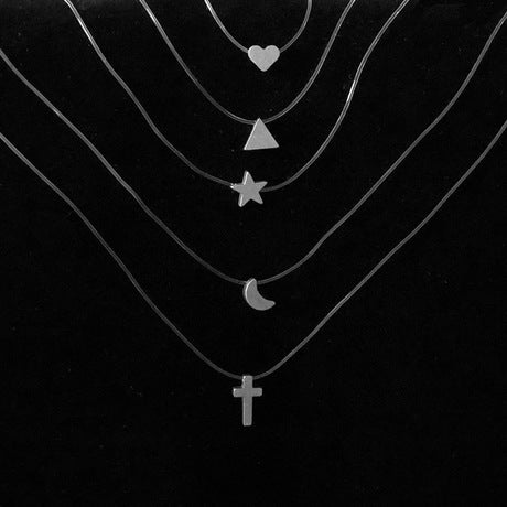 Women's Necklace Jewelry With Heart, Triangle, Star, Moon, Christian Cross Small Shape
