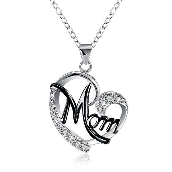 Mom Heart-shaped Diamond Necklace