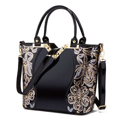 Embroidered Bright Leather Shoulder Handbags
