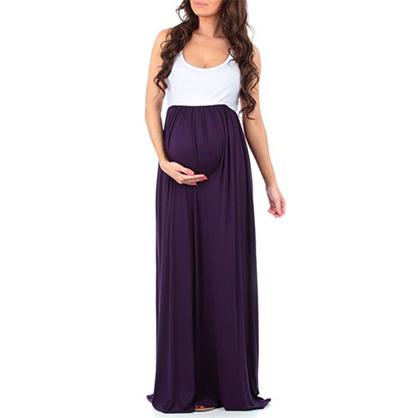 Round Neck Sleeveless Stitching Large Swing Pregnant Skirt for Women