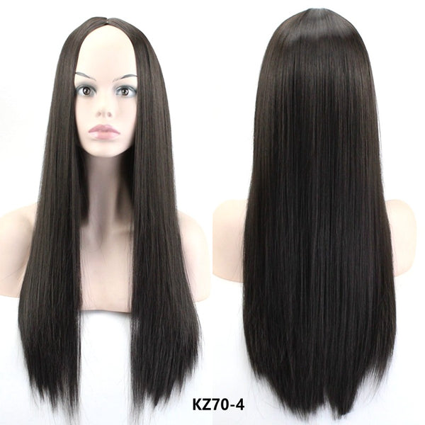 1pc Straight Long Hair Wig With Bang