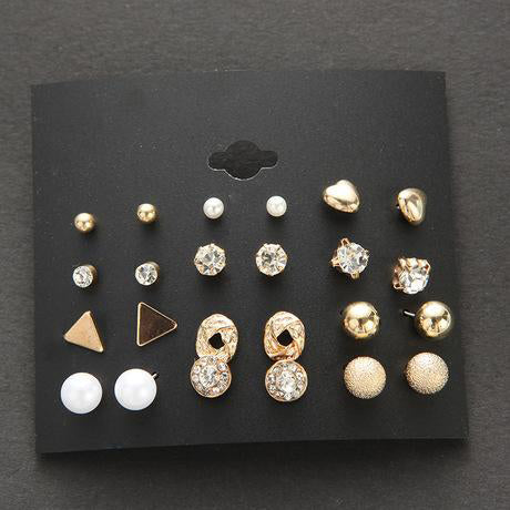 12 pair of women hypoallergenic and colorful simple style earrings