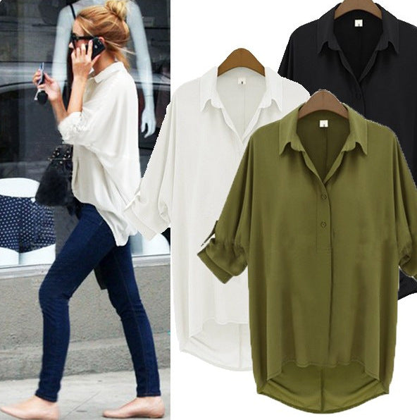 Loose Solid Rolled Up Sleeves Womens Blouse