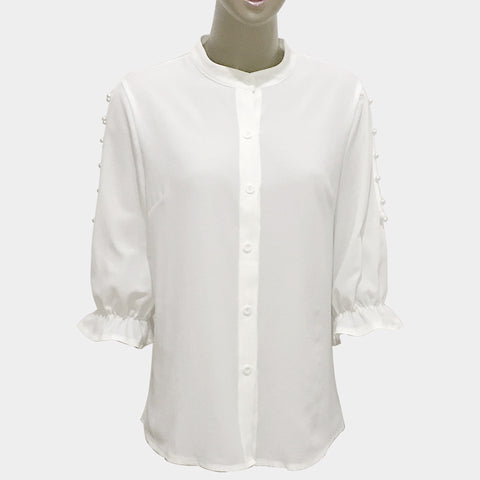 Women's Off-the-shoulder Beaded Half-sleeved Collar Shirt