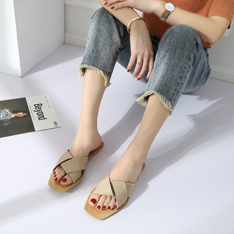 Head Open Toe Cross Face Flat Bottom Slippers