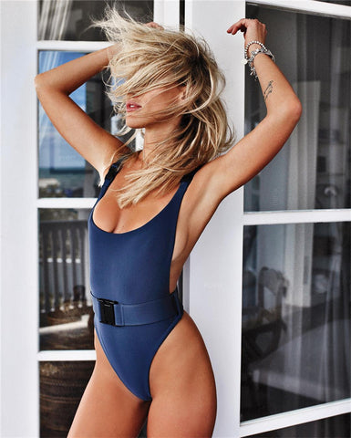 One-piece Swimsuit Solid Color Sexy Belt Buckle Bikini