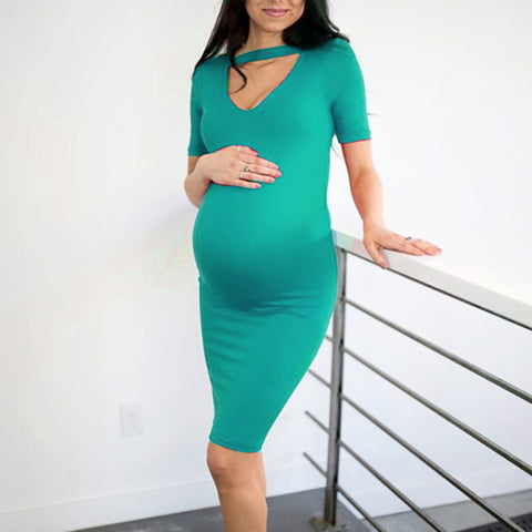 Solid Color Short-sleeved Maternity Dress