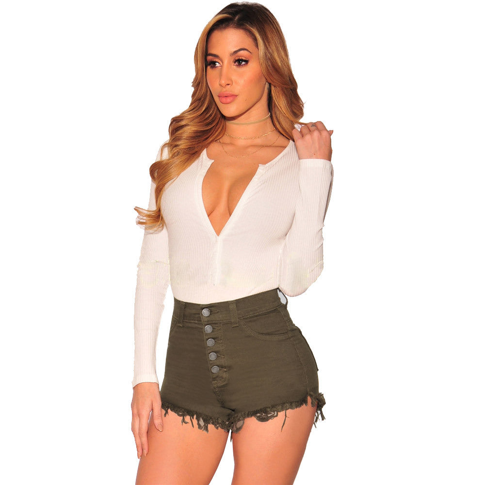 Women High Waist Tassel Ripped Mini Button Denim Shorts