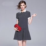 Striped Polo Short-sleeved Casual Sports Skirts
