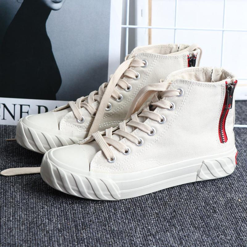 High-top Canvas Shoes Women's Flat Bottom Shoes