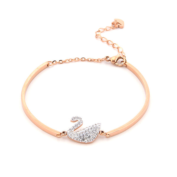 Rose Gold Diamond Swan Ladies Bracelet