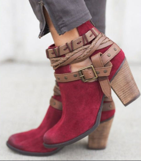 Women's Ankle Boot With Round Head Chunky Heel