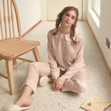 Spring & Autumn Satin Silk New Cat Embroidery Ladies Pajamas