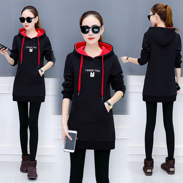 Womens Loose Large Size Hooded Sweater Suits