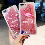 Flamingo Liquid Quicksand Silicone Soft Mobile Phone Shell