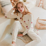 Half Cashmere Soft Strawberry Sweet Long-sleeved Pajamas