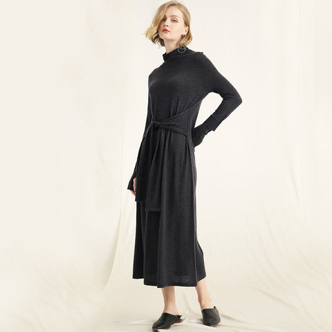 Solid Color Half-neck Wool Knit Dress