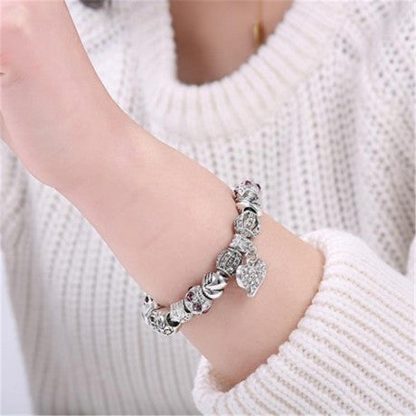 Silver Beads Fit Heart Charms Jewelry Bracelet for Women