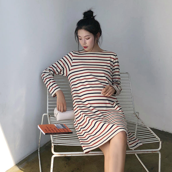 Pregnant Women Striped Loose Large Size Dress
