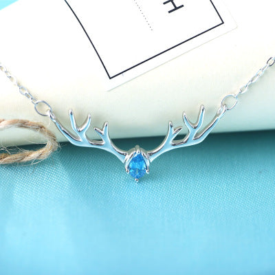 Silver 925 Christmas Small Antler Necklace