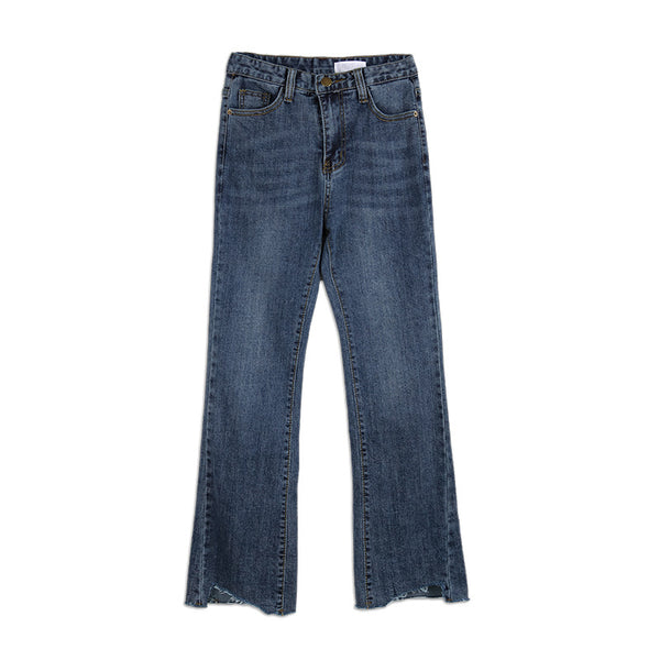 Torn Edge Tight-fitting Nine Points Jeans