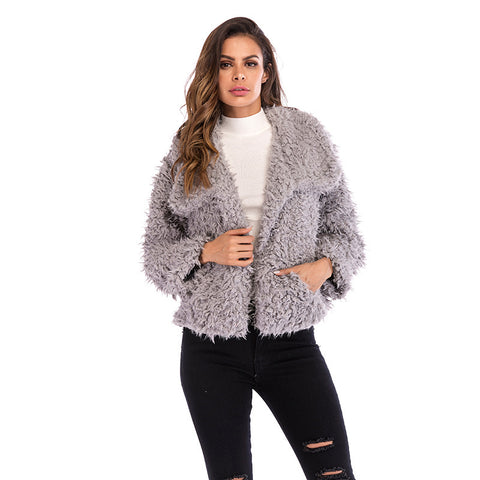 Women's Lapel Plush Short Jacket