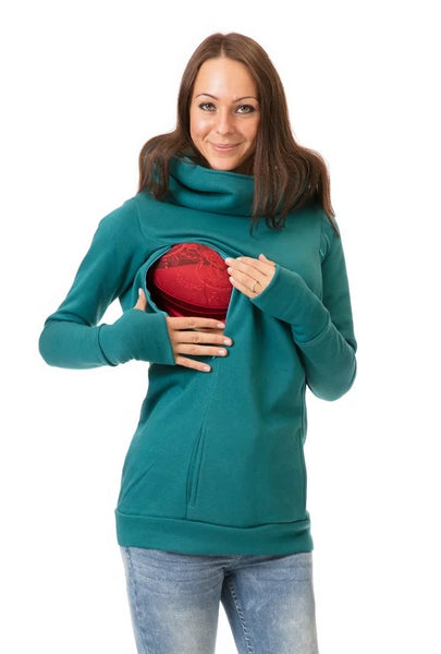 Plush hooded long sleeve sweater