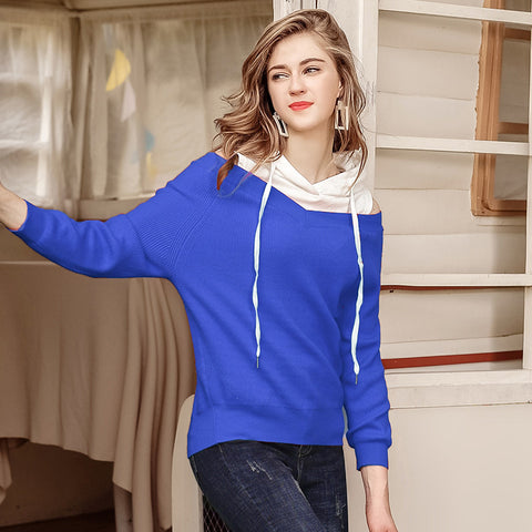 Women's Loose Long-sleeved Shirt Strapless Stitching Hooded Sweater