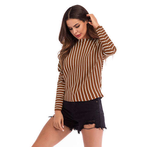 Striped Loose Sleeve Sweater For Women