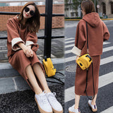 Sports Suit Female Loose Hooded Sweater Dress