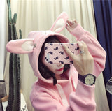 Sweet Rabbit Ears Hooded Sweater for Women