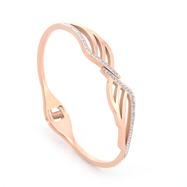 Hand-studded Diamonds Leaves Rose Gold Titanium Steel Bracelet