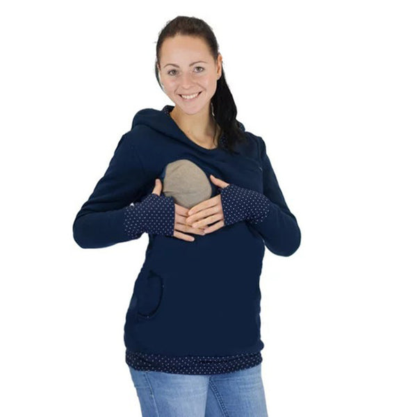 Women's Thick Hooded Long-sleeved Dew Half-neck Sweater