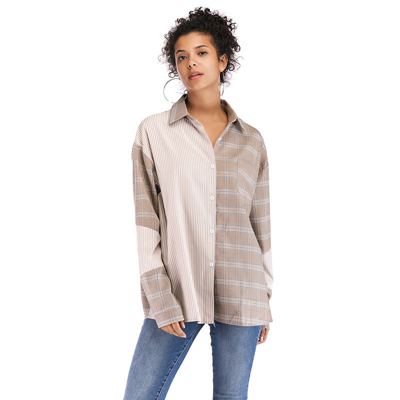 Women's Lapel Plaid Shirt