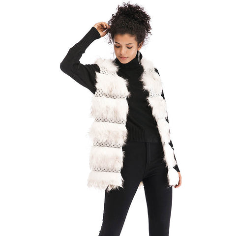 Women's Layered Plush Faux Fur Vest