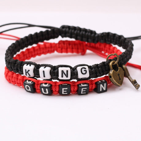 Pure Hand-woven King Queen Couple Bracelet